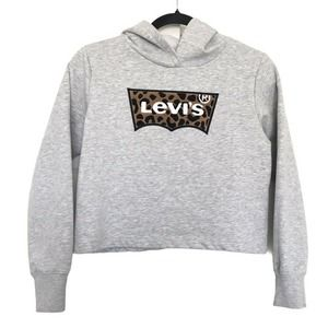 Levi's Chenile Patch Logo Crop Long Sleeve Hoodie Size Large